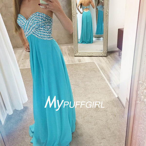 Turquoise Beaded Sweetheart Empire Chiffon Prom Dress With Cut Out Back
