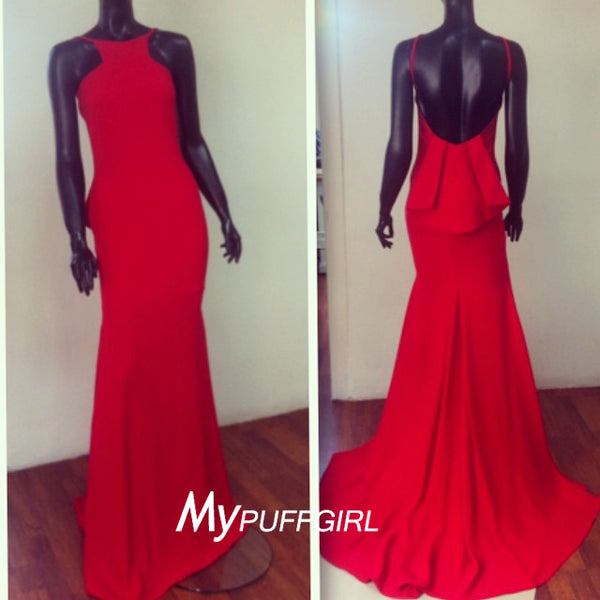 Gorgeous Red Fitted Halter High Neck Backless Prom Gown With Sweep Train