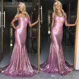 2019 Off The Shoulder Prom Dress For Senior Sequin Formal Evening Gown Mermaid Pink