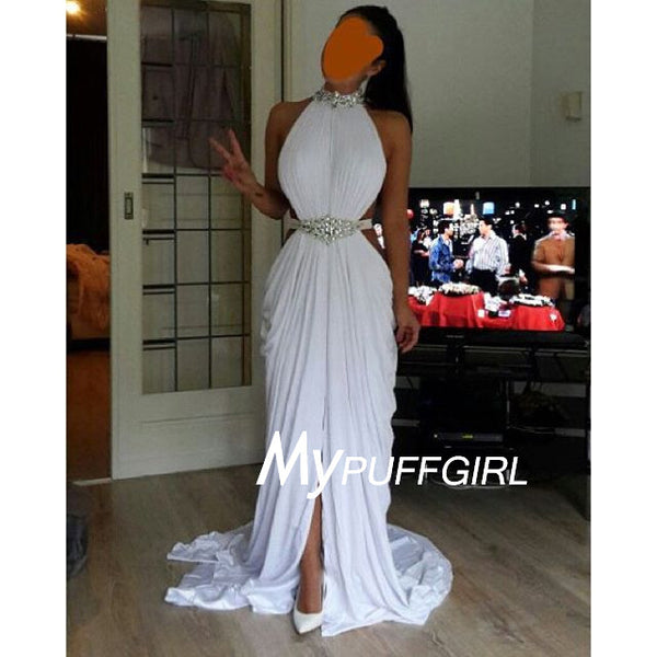 White Beaded High Neck Slit Chiffon Prom Dress With Cut Out Waist