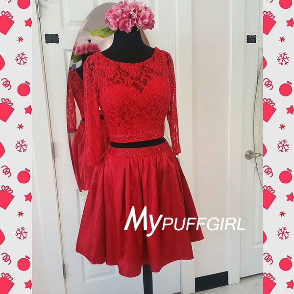 Red Bateau V Back Two Piece Cocktail Party Dress With Long Sleeves