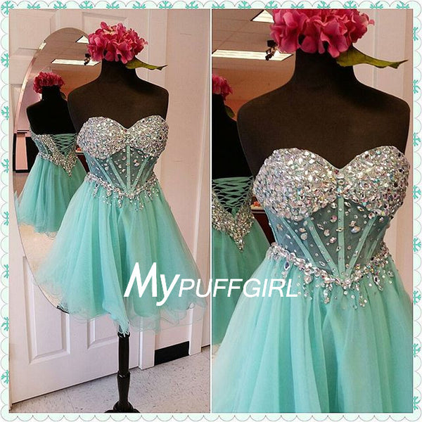 Mint Tulle Beaded Sweetheart Cocktail Dress With Sheer Corset Waist