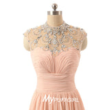 Pearl Pink Beaded Illusion High Neck Prom Gown With Draped Bodice