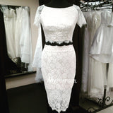 White Fitted Lace Two Piece Short Party Dress With Short Sleeves