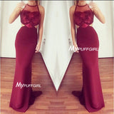 Fitted Burgundy Sleeveless Illusion Open Back Prom Gown With Lace Appliques