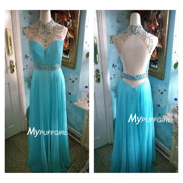 Ice Blue Beaded Illusion High Neck Chiffon Prom Dress , Formal Gown With Open Back