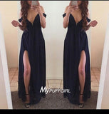 Navy Blue Off The Shoulder Long Chiffon Maxi Party Dress With Side Slit