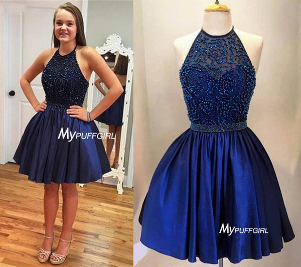 Blue Satin Halter Homecoming Dress, Cocktail Dress With Beaded Top