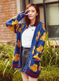 Royal Blue Bear Cartoon Knitted Cardigan Sweater