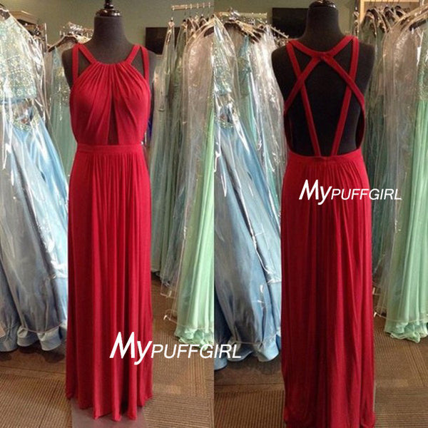 Red Halter Open Back Chiffon Long Prom Dress , Homecoming Dress , Formal Gown