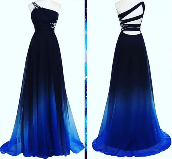 2016 Ombre Blue One Shoulder Chiffon Formal Gown With Open Back