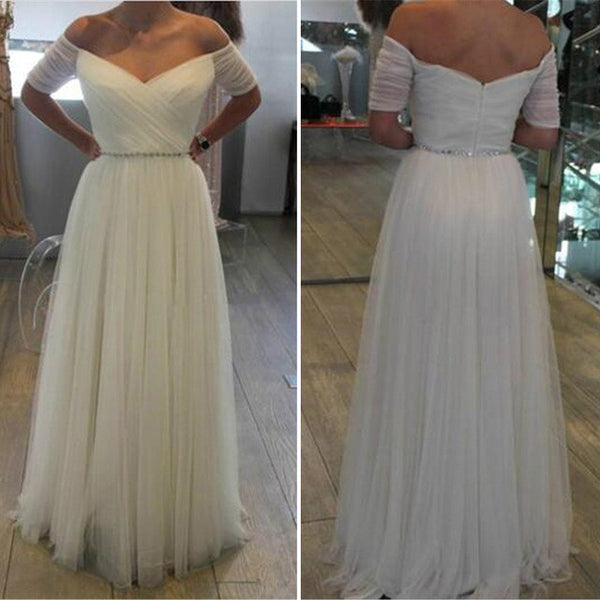 Ivory Tulle Formal Gown,Off The Shoulder Prom Dress With Short Sleeve