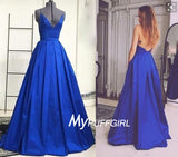 Light Royal Blue V Neck Satin Backless A Line Prom Gown With Cross Spaghetti Straps