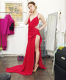 Sexy Red V Neck Backless Formal Gown, Prom Dress With High Slit