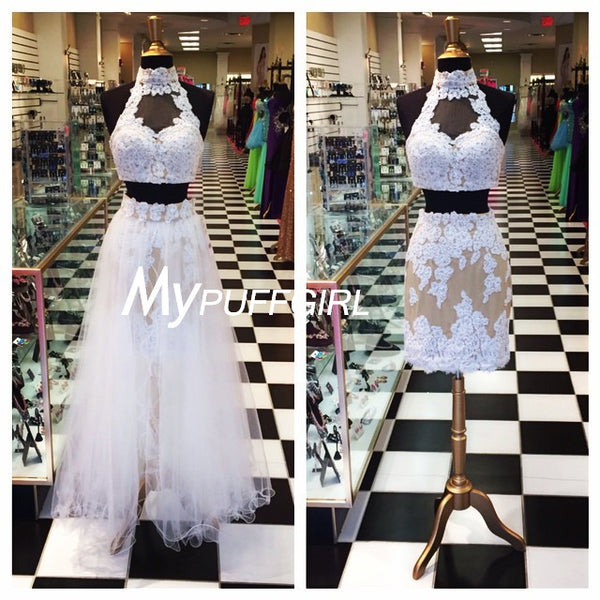 White Lace High Neck Homecoming Dress With Detachable Tulle Skirt