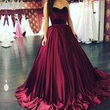Gorgeous Burgundy Sweetheart Satin Ball Gown Prom Dress,Pageant Gown