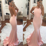 Pink Backless Prom Dress, Homecoming Dress, Mermaid Formal Gown