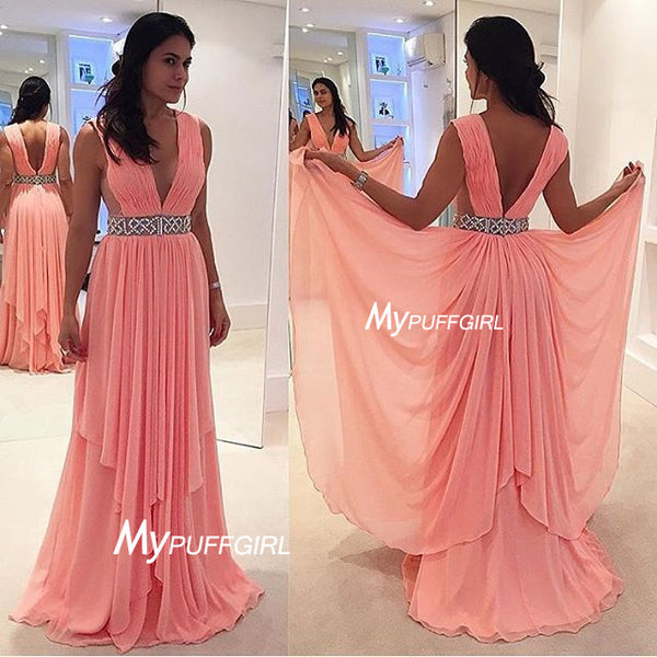 Pink Deep V Neck Chiffon Prom Dress , Formal Gown With Beaded Waist