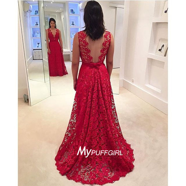 Red Sleeveless Lace V Neck Formal Gown , Evening Dress With V Back
