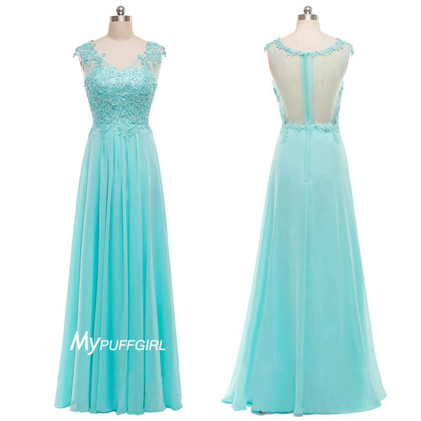 Ice Blue Lace Appliques Bodice Chiffon Prom Gown With Sheer Back