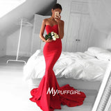 Glamour Red Sweetheart Mermaid Prom Dress, Formal Gown With Sweep Train