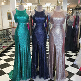 Sequin Slit Formal Gown, Fitted Prom Dress With Cut Out Waist And Back