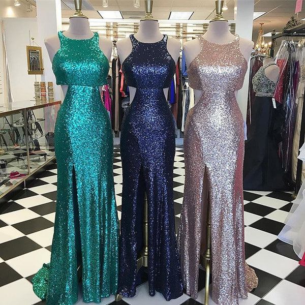 c8dcf8f07b45 Sequin Slit Formal Gown, Fitted Prom Dress With Cut Out Waist And Back