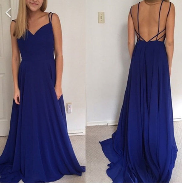 Royal Blue Sweetheart Chiffon Prom Dress With Spaghetti Straps