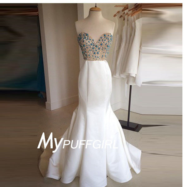 2016 White Satin Sweetheart Mermaid Prom Gown With Stones And Sequins