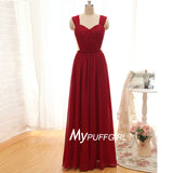 Wine Red Cap Sleeves Chiffon Bridesmaid Dress With Draped Bodice
