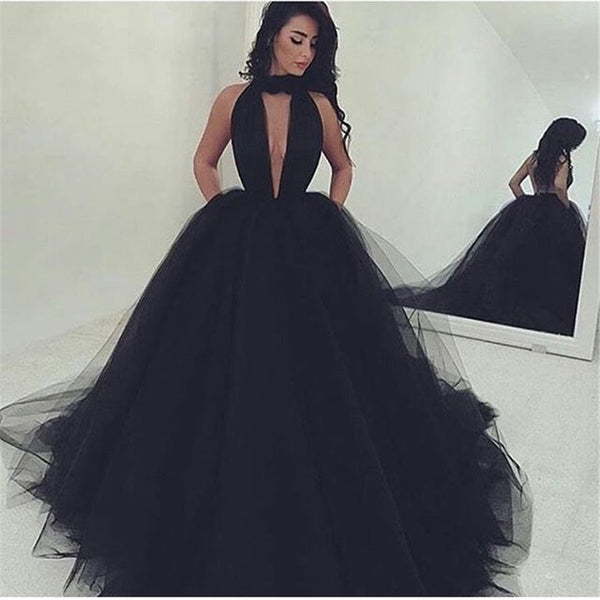 Black Deep V Neck Formal Gown ,Ball Gown Prom Dress With High Neck