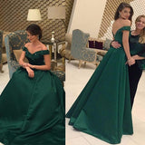 Dark Green Off The Shoulder Princess Prom Dress, Pageant Gown