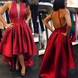 Red Backless Homecoming Dress,High Low Party Dress With Plunging Bodice