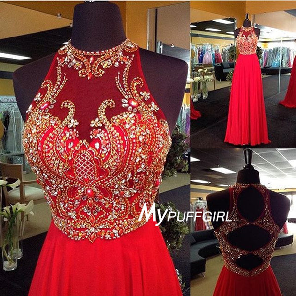 Red Sleeveless Halter Chiffon Prom Dress With Beaded Bodice , Cut Out Back