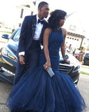 Beaded Navy Blue Mermaid Prom Gown, Sleeveless Formal Gown With Keyhole Back