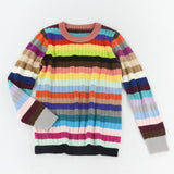 Multi Color Rainbow bar Pullovers Woollen Sweater For Women
