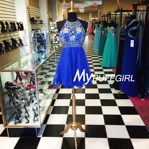 Royal Blue Halter Chiffon Homecoming Dress With Beaded Bodice