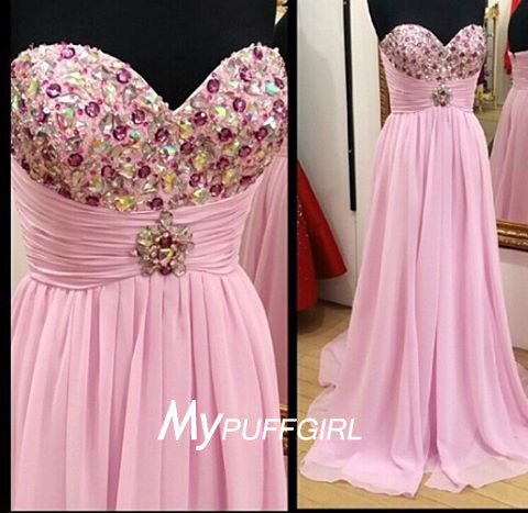 Pink Sweetheart Empire Chiffon Long Prom Dress With Crystals