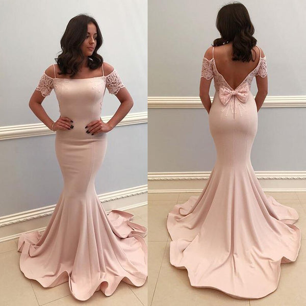 Blush Pink Off Shoulder Prom Dress Mermaid Evening Dress Open Back Gown For Women Formal