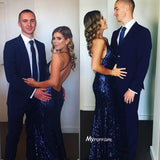 Royal Blue Sequin V Neck Mermaid Formal Gown,Fitted Prom Dress Open Back