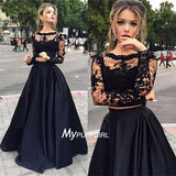 Black Two Piece See Through Long Sleeve Prom Dress With Lace Applique Boidce