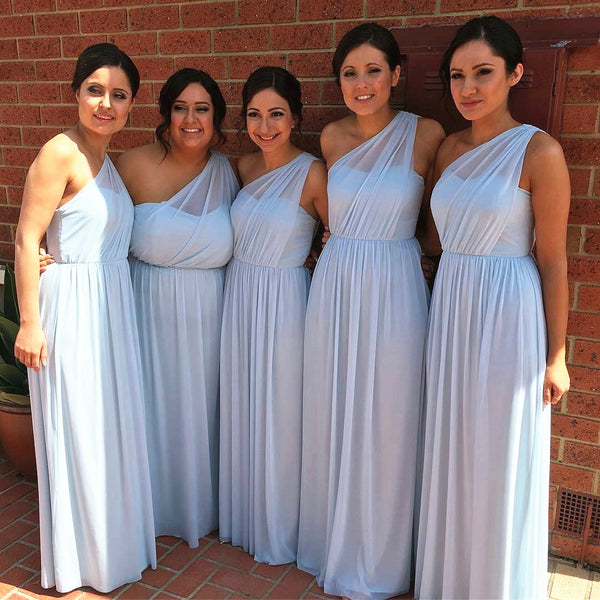 Light Blue One Shoulder Bridesmaid Dress, Floor Length Long Chiffon Dress