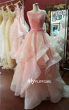Organza Sleeveless Backless Pink Prom Dress With Layered Ball Gown Skirt