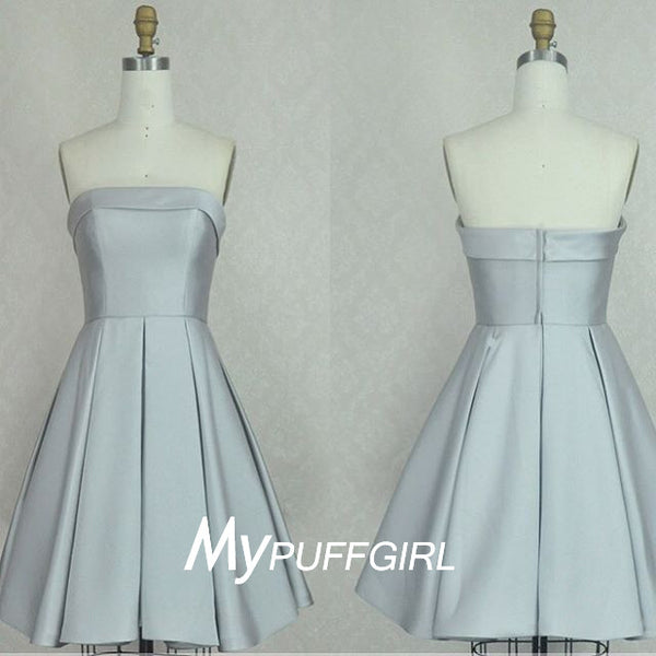 2016 Silver Gray Satin Strapless Knee Length Bridesmaid Dress
