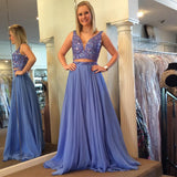 Two Piece Plunging V Neck Prom Dress, Formal Gown With Beaded Crop Top