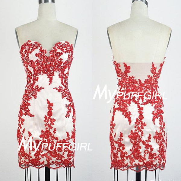 Plunging Sweetheart Sheath Cocktail Dress With Floral Appliques
