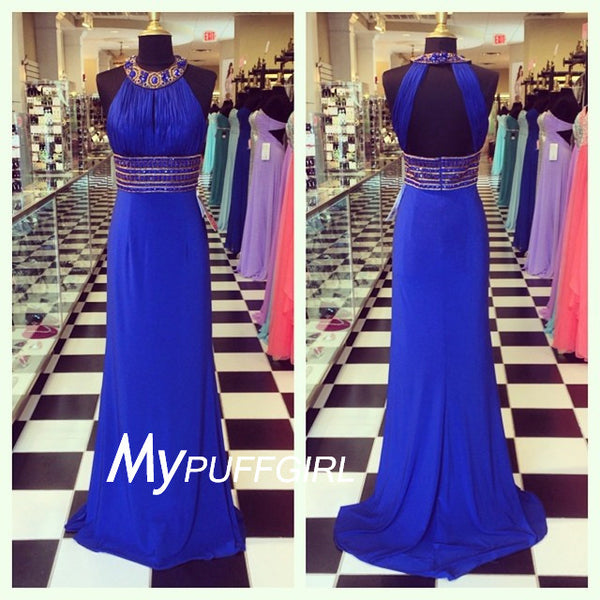 Royal Blue Halter Beaded Chiffon Prom Dress With Cut Out Back