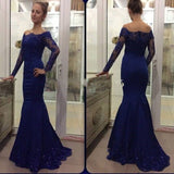 Navy Blue Off The Shoulder Prom Dress,Long Sleeve Mermaid Formal Gown With Lace Appliques
