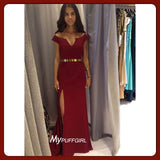 Burgundy Off The Shoulder Cap Sleeve Prom Dress With Side Slit
