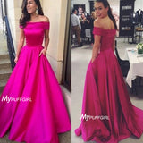Hot Pink Off The Shoulder Formal Gown, Evening Dress With Two Pockets
